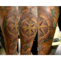 Compass and Anchor Wrist Tattoo