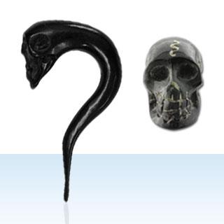 Black Skull Ear Gauges