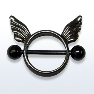 Black Wings Nipple Rings