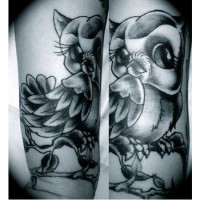 Owl Design Arm Tattoo