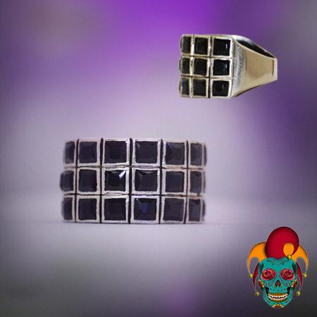 Black Squares Silver Ring