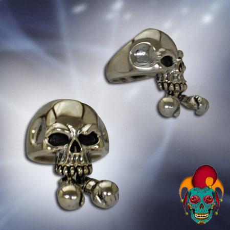 Dangling Ball Silver Skull Ring