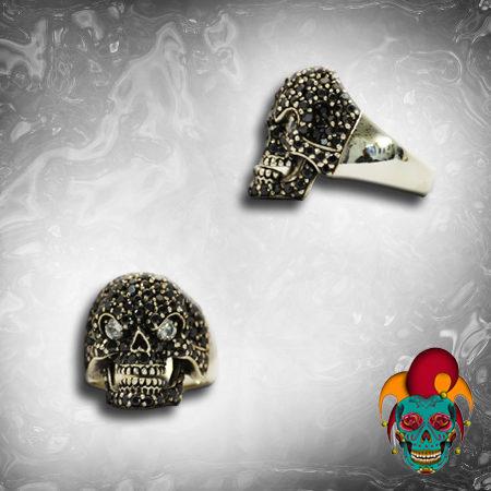 Sparkle Silver Skull Ring