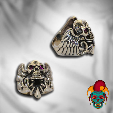 Flying Skull Silver Ring