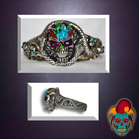 Colorful Skull Silver Bangle