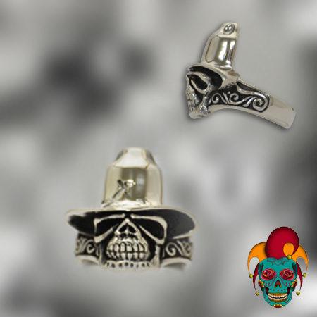 Flat Skull Silver Ring