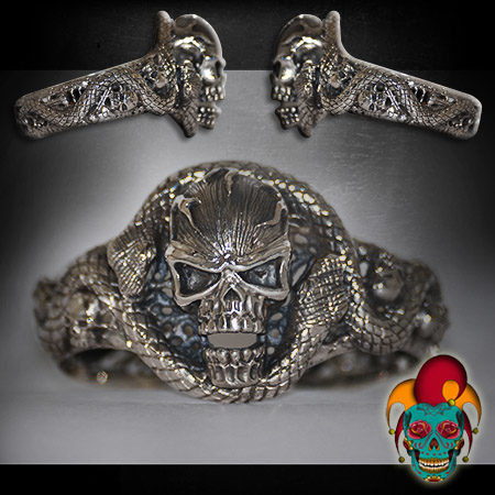 Angry Skull Silver Bangle