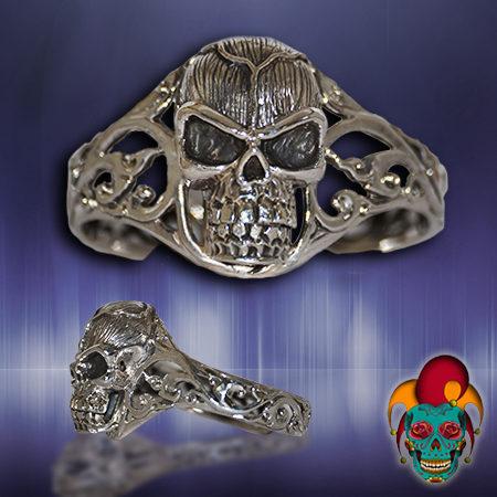 Artistic Silver Skull Bangle