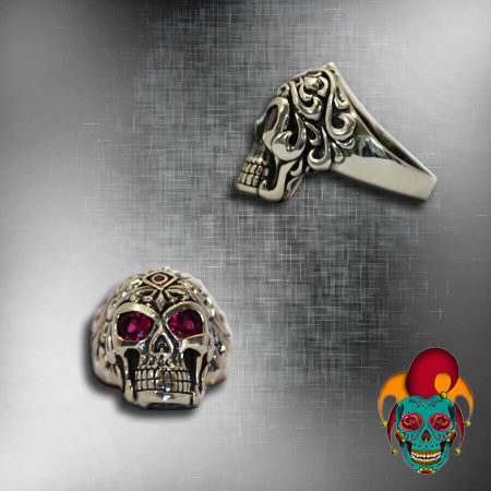 Purple Eyed Silver Skull Ring