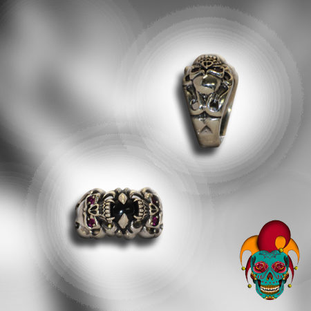 Double Skull Silver Ring