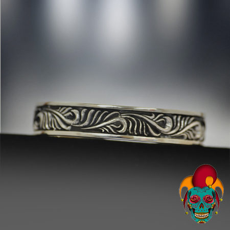 Swirl Design Silver Bangle