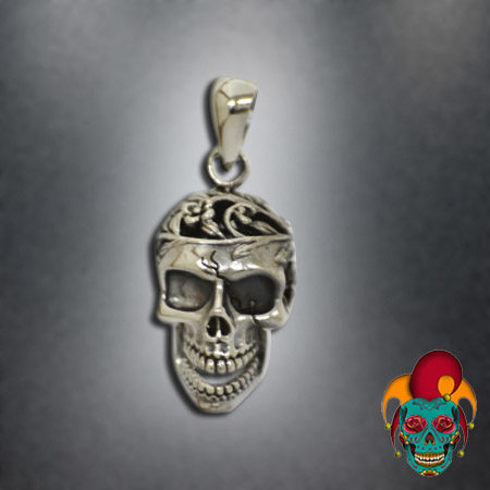 Carved Upper Head Silver Pendant