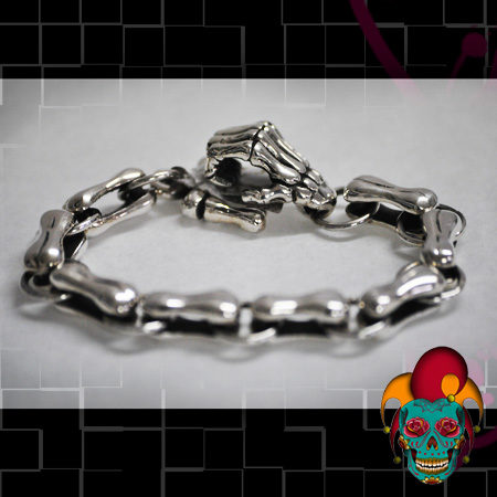 Skeleton End Silver Bracelet