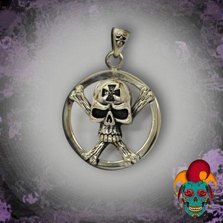 Skull Sphere Silver Pendant