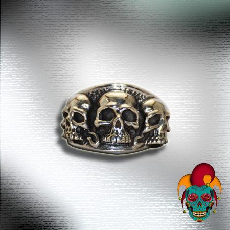 Trio Silver Skull Ring