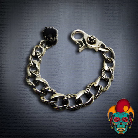 Wide Chained Silver Bracelet