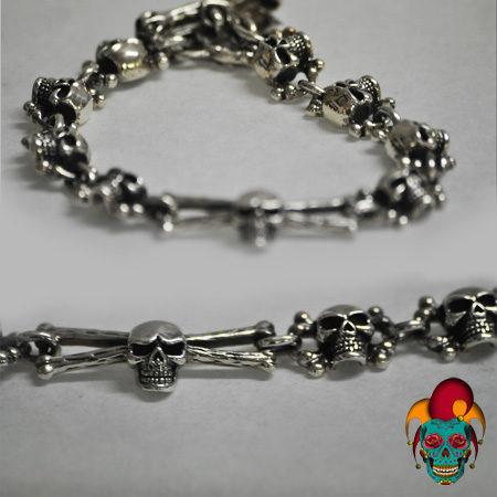 Multiple Skull Silver Bracelet