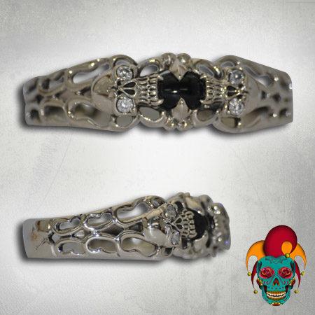 Black Centered Silver Bangle