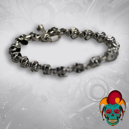 Multiple Skull Face Silver Bracelet