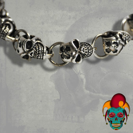 Multiple Skull Head Silver Bracelet