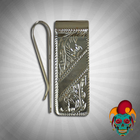Carved Silver Money Clip