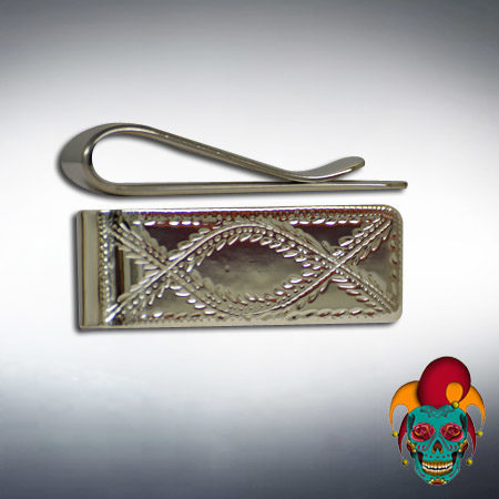 Fish Design Carved Silver Money Clip