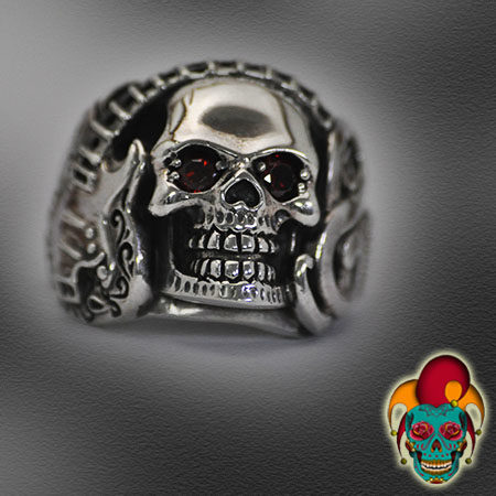 Skull With Head Phones Silver Ring