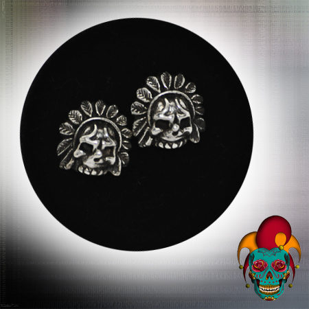 Indian Chief Skull Silver Earrings