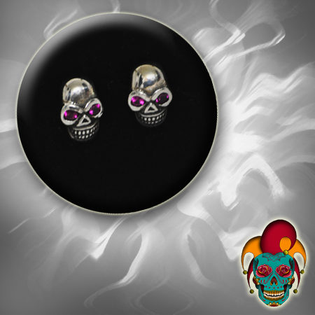 Purple Eyed Skull Silver Earrings