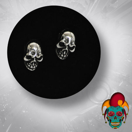 Evil Skull Silver Earrings