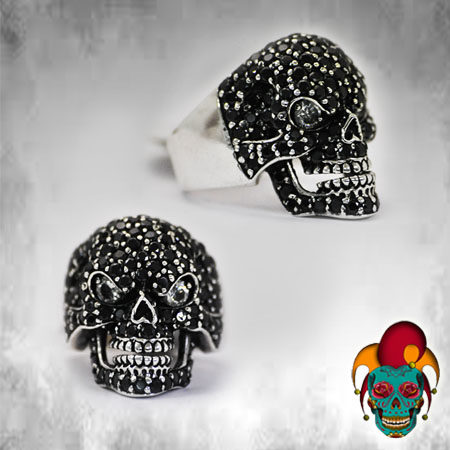 Black Sparkled Skull Silver Ring