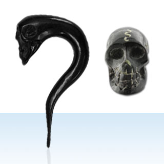 Black Skull Ear Gauges