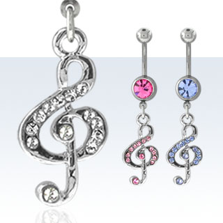 Musical Note Navel Rings