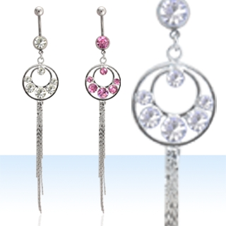 Multi Stone Dangling Navel Rings