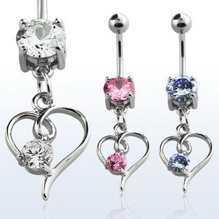 Glam Heart Design Navel Rings