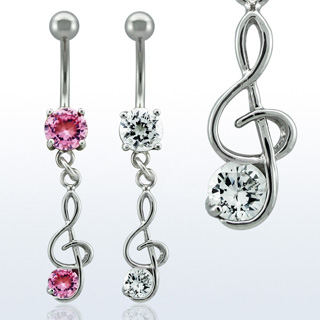 Dangling Music Note Navel Rings