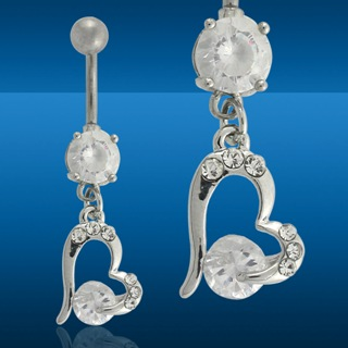 Glamorous Heart Shaped Navel Rings