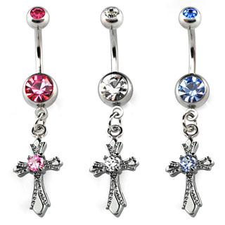 Dangling Cross Design Navel Rings