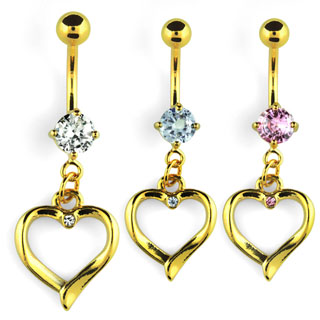 Gold Plated Dangling Heart Navel Rings