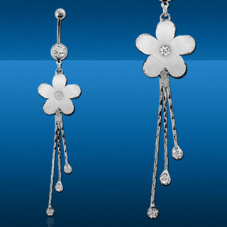 Dangling Flower Navel Rings