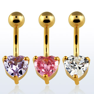 Gold Plated Heart Shaped Navel Rings