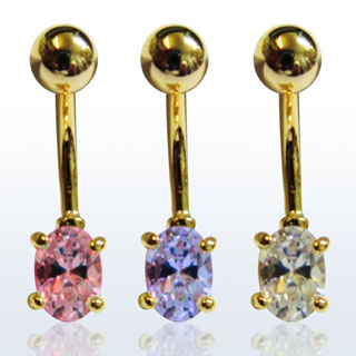 Gold Plated Colorful Navel Rings