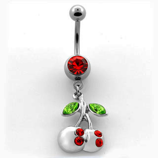 Red and Silver Cherry Navel Rings