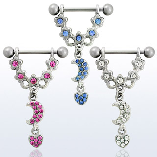 Dangling Moon Nipple Rings