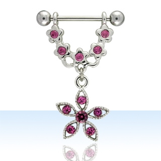 Pink Flower Shaped Nipple Rings