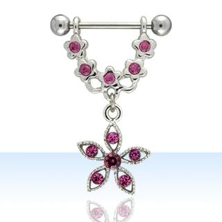Pink Flower Shaped Nipple Rings