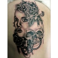 Skeleton and Woman's Face Tattoo