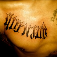 Written Design Chest Tattoo