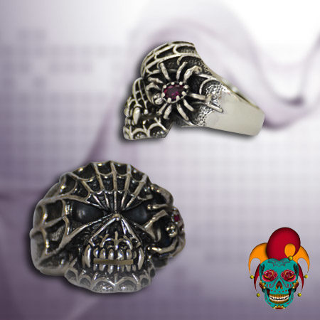 Spider Web Skull Silver Ring