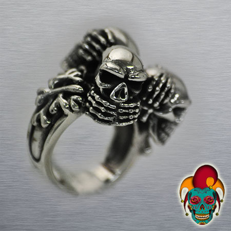 Multiple Skull Silver Ring
